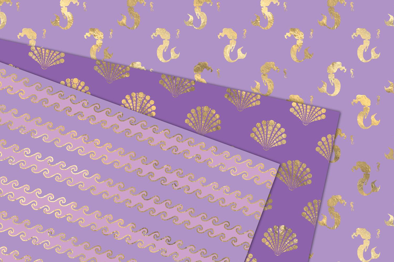 Purple and Gold Mermaid Digital Paper example image 3