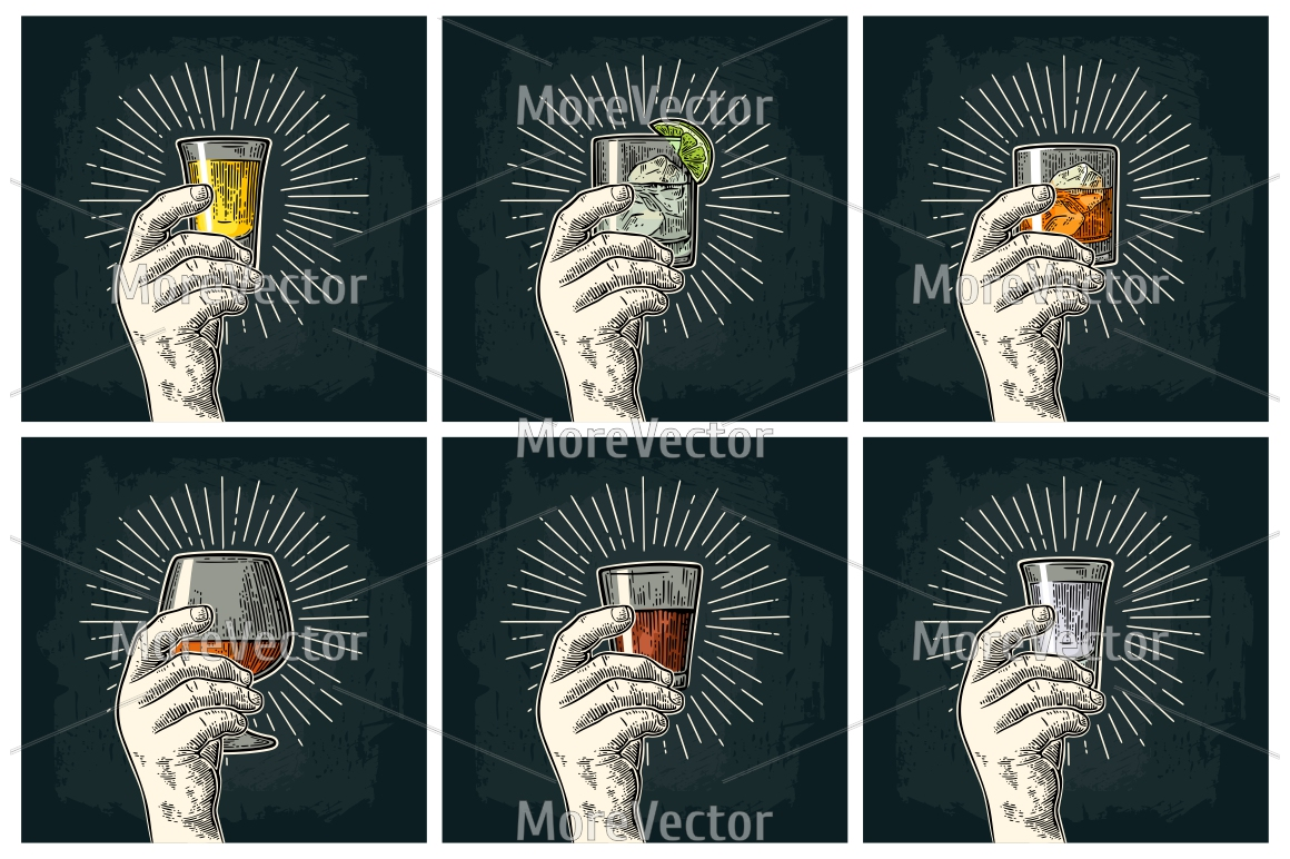 Male hand holding glass with brandy, tequila, gin, vodka, rum, whiskey. Cheers calligraphy lettering example image 2