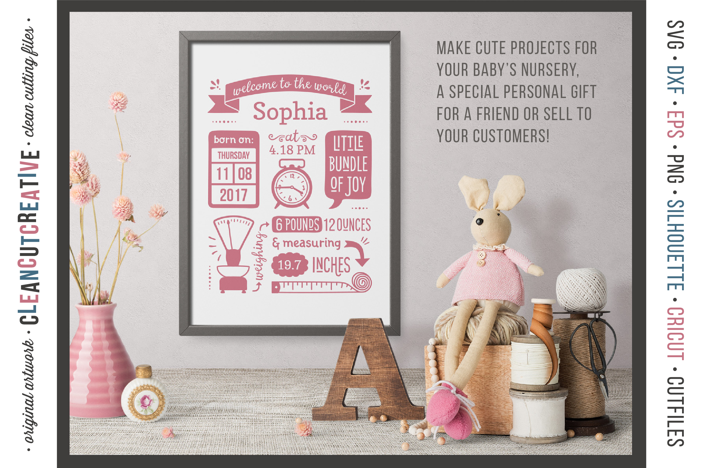 BIRTH STATS TEMPLATE - Baby Birth Announcement - SVG DXF EPS PNG - Cricut & Silhouette - clean cutting files example image 3
