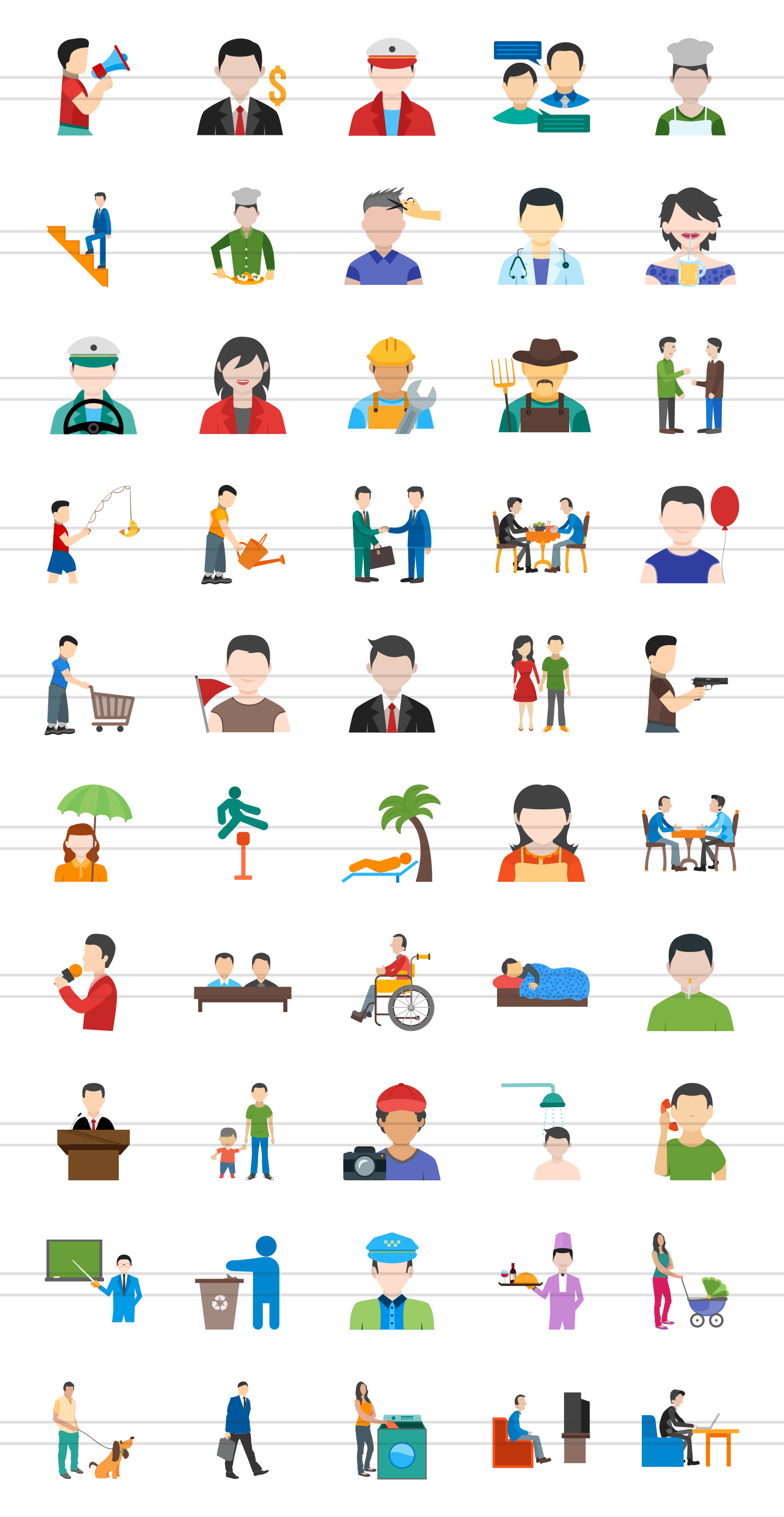 50 Activities Flat Multicolor Icons example image 2