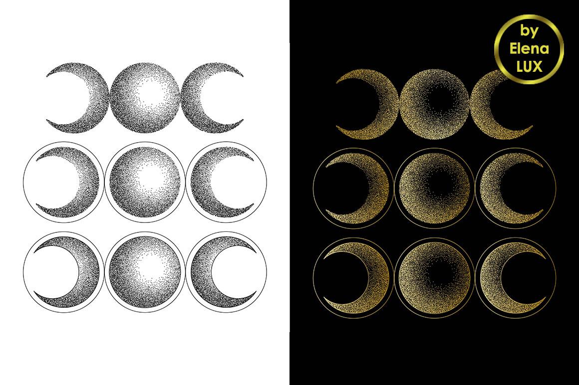 Triple moon dotwork tattoo set example image 1