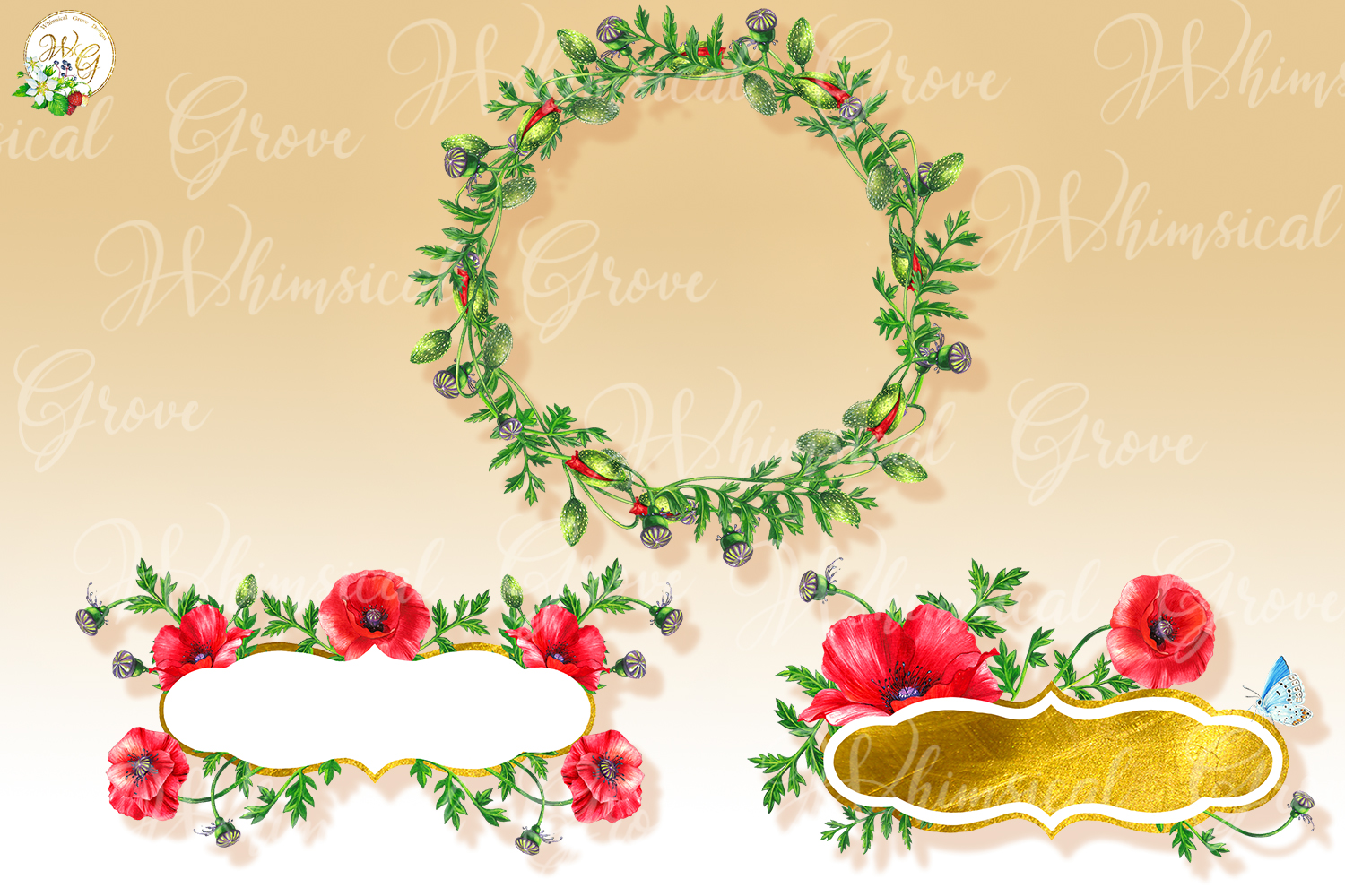 Scarlet Poppy set 18 watercolor handpainted clipart, floral, example image 4
