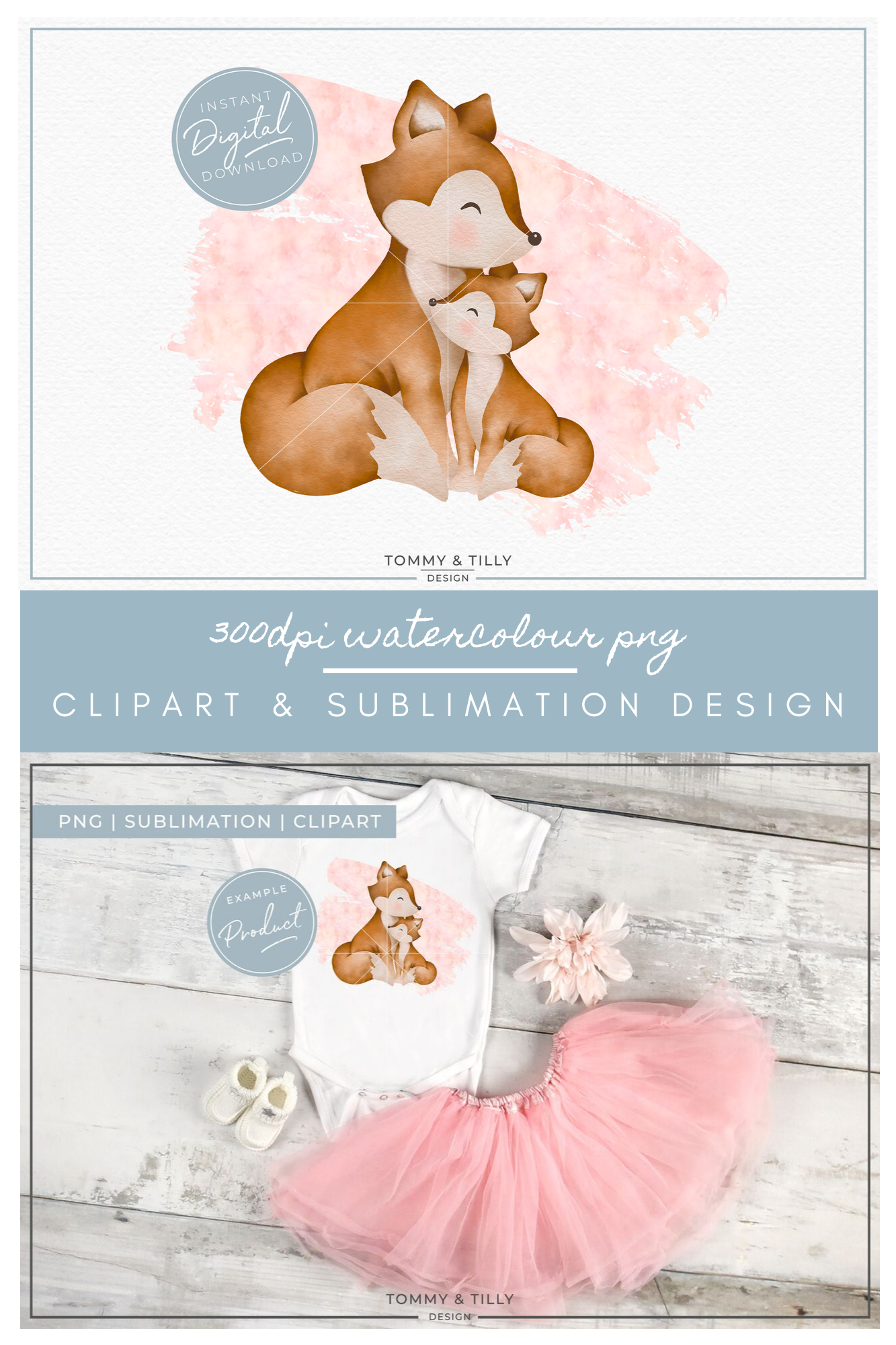 Pink Mummy and Baby Fox - Sublimation PNG Clipart example image 5