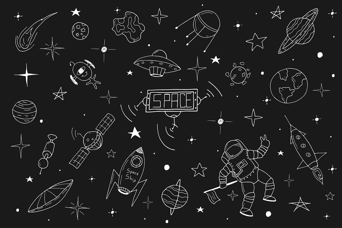 Space set in doodle style + patterns example image 1