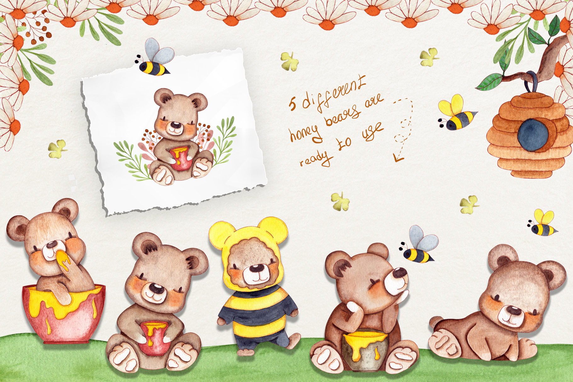 Honey Bears Watercolor Collection example image 2