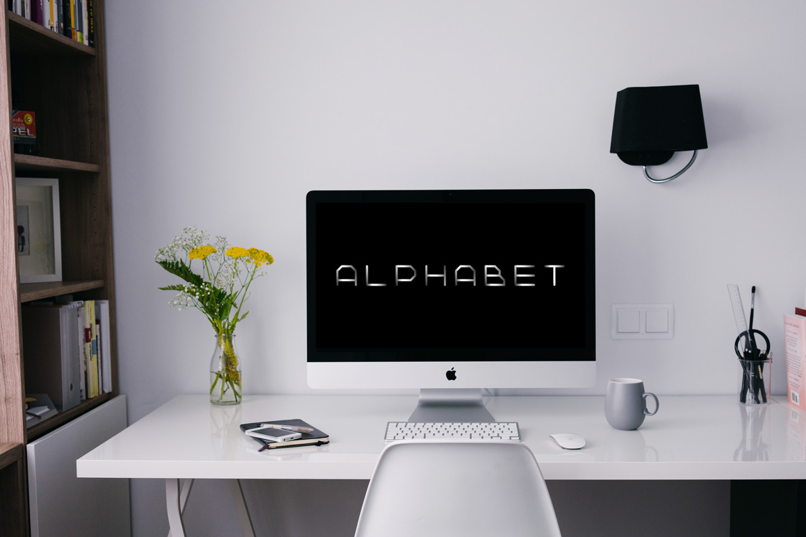 Metal font. Iron english alphabet example image 3