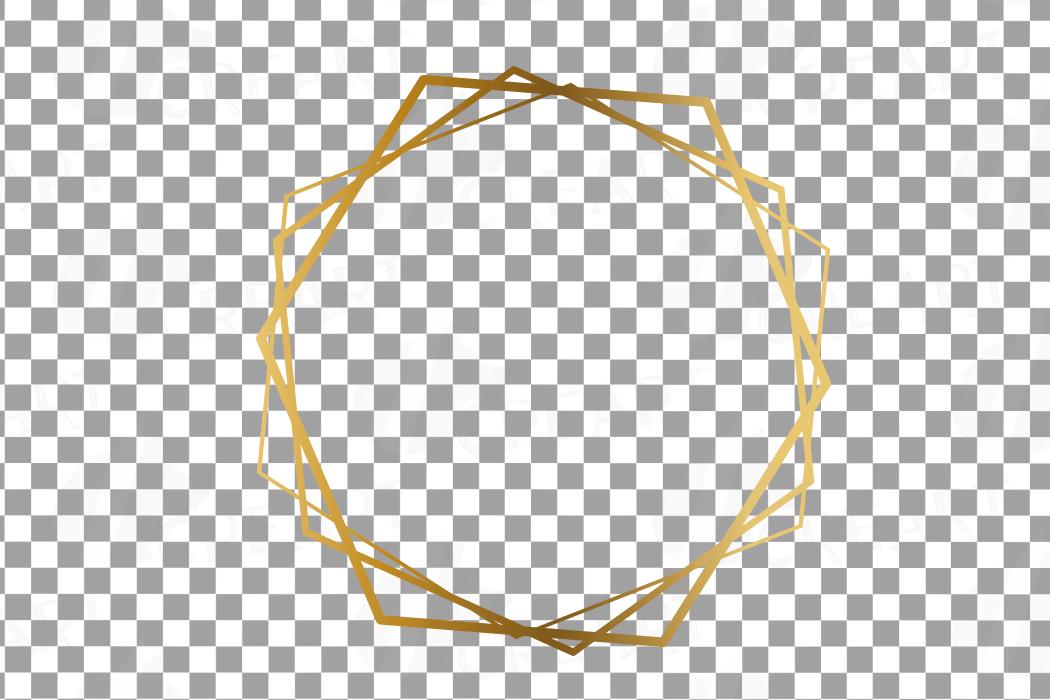 Elegant wedding geometric golden frames, lineal frames png example image 8