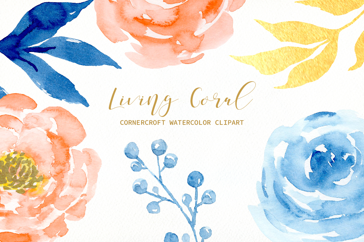 Watercolor Collection Living Coral Flowers example image 6