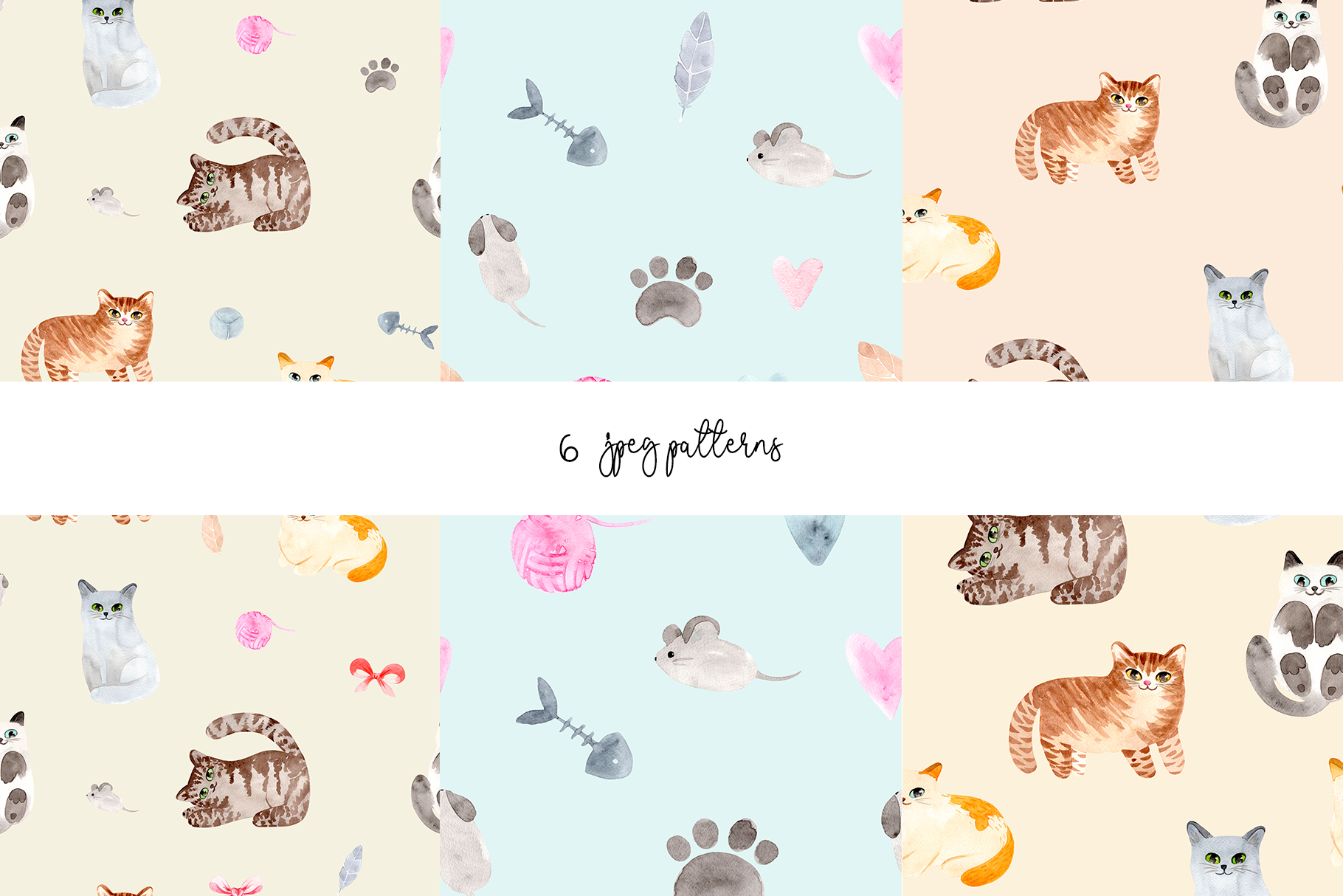 Watercolor Cute Cats. Patterns and Cliparts example image 4
