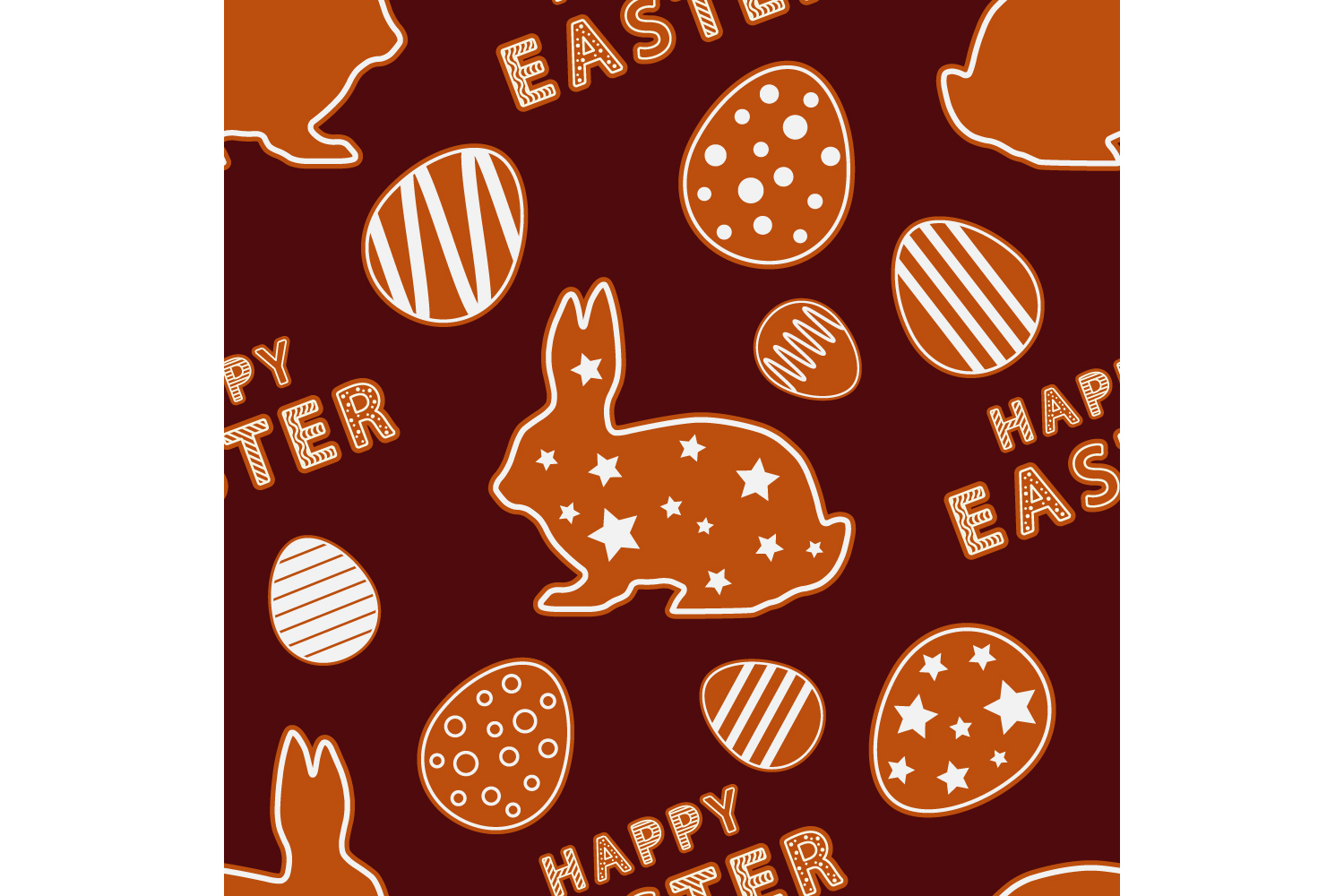 Easter gingerbread ornament. Set of 10 seamless patterns. example image 2
