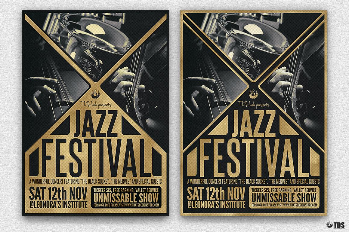 Golden Jazz Flyer Template example image 2
