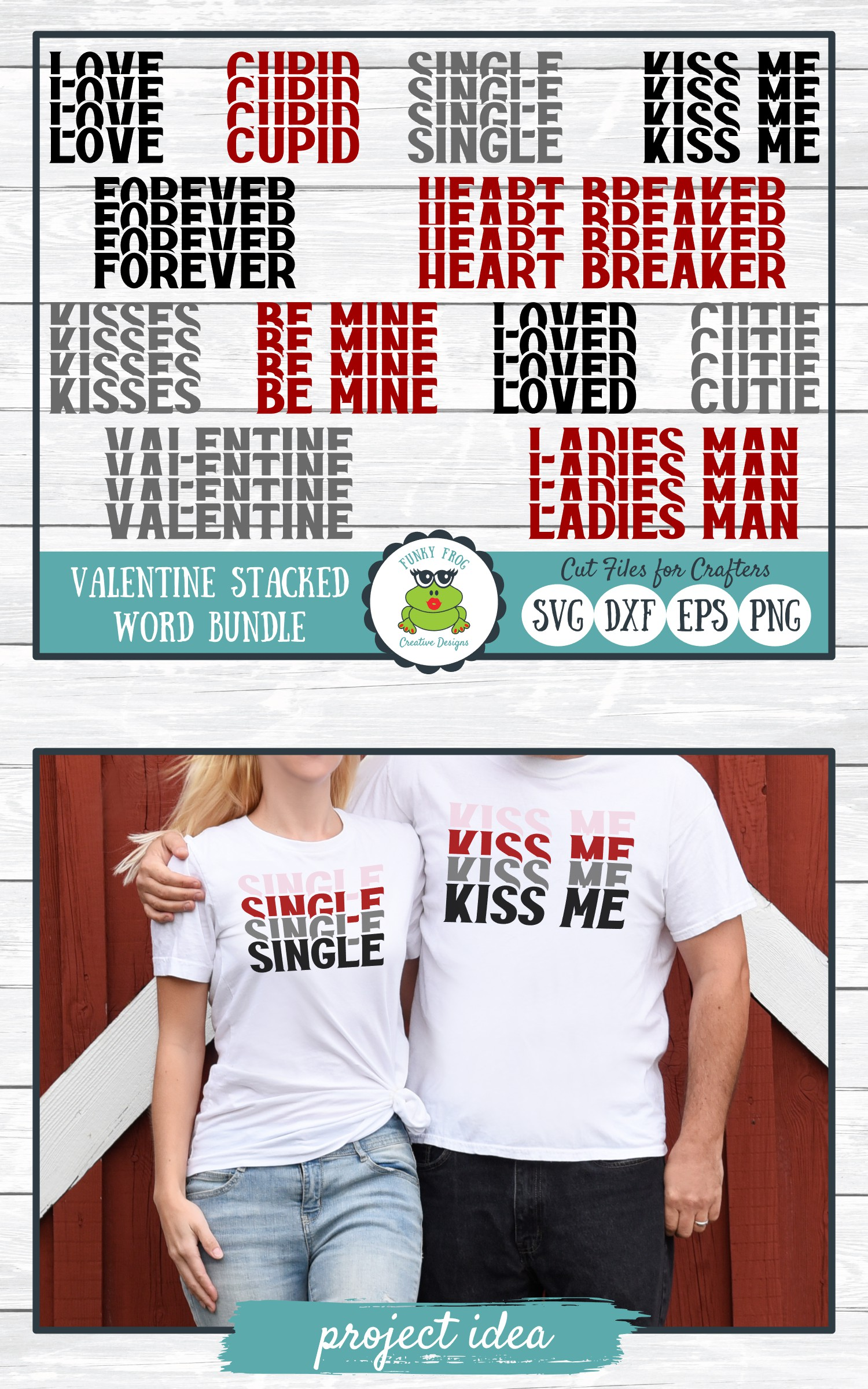 Valentine Stacked Word Bundle, SVG Cut Files for Crafters example image 6