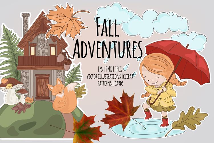 FALL ADVENTURES Autumn Season Cartoon Vector Illustration example image 1