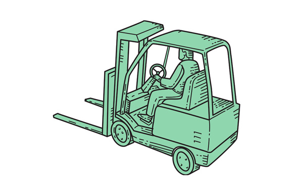 Forklift Truck Operator Mono Line example image 1