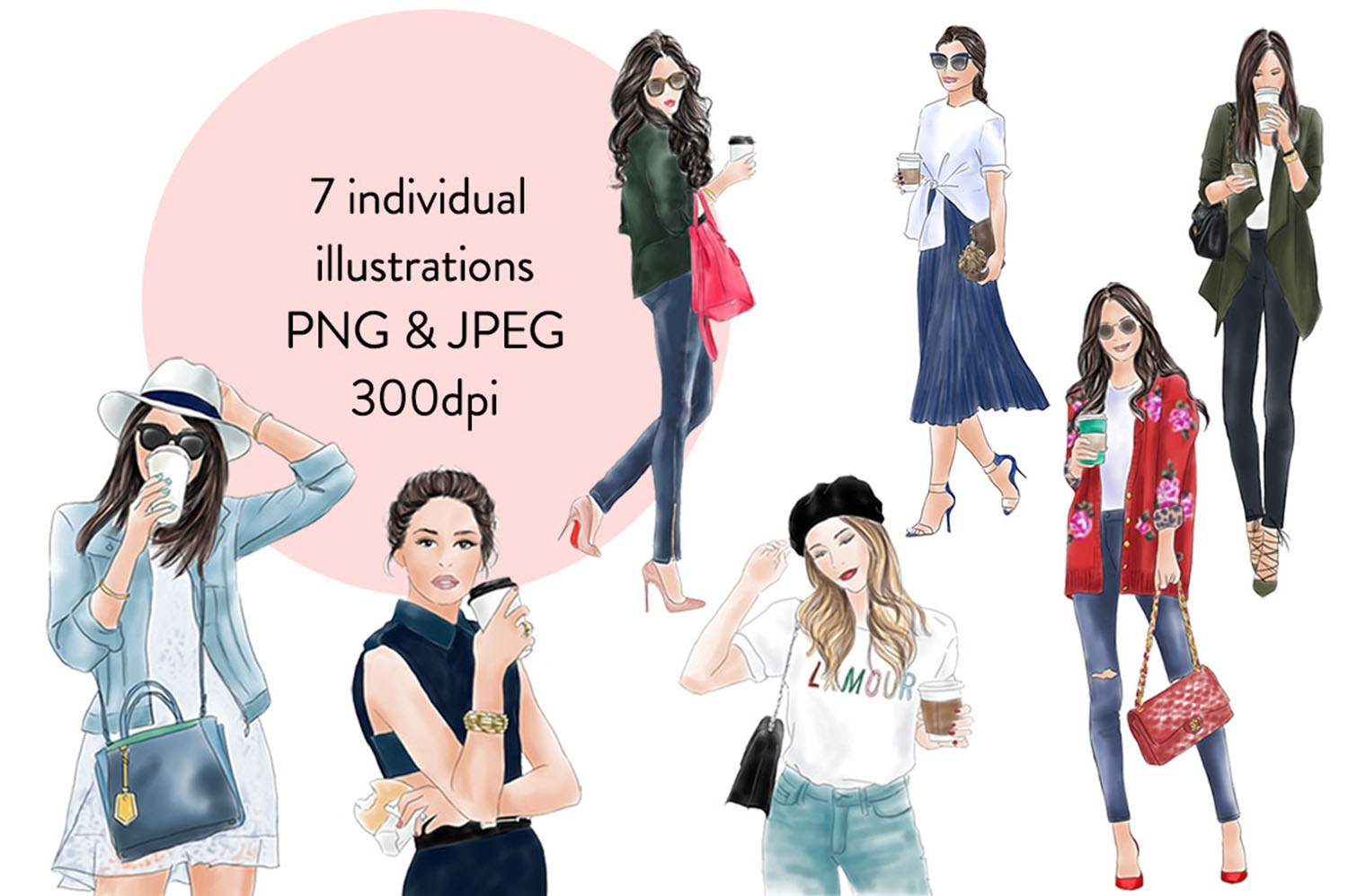 Coffee girls watercolour illustration clipart example image 2