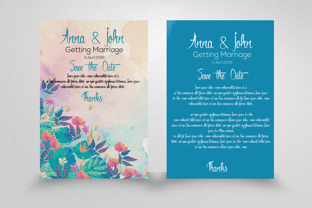 5 Double sided Save the Date Invitation Cards Bundle example image 2