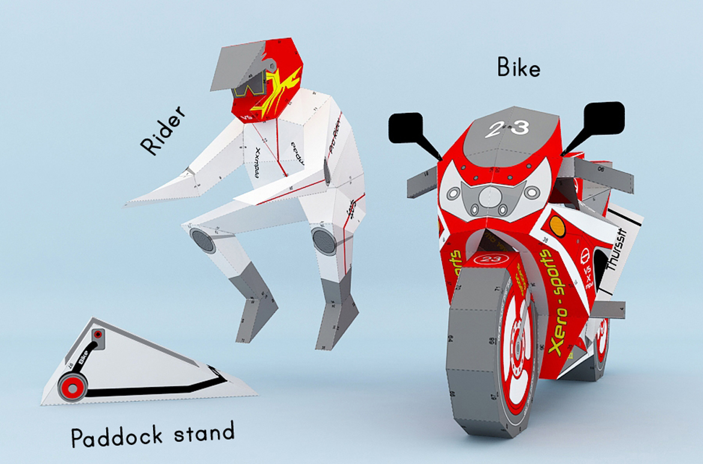 DIY Sports bike - 3d papercraft example image 2