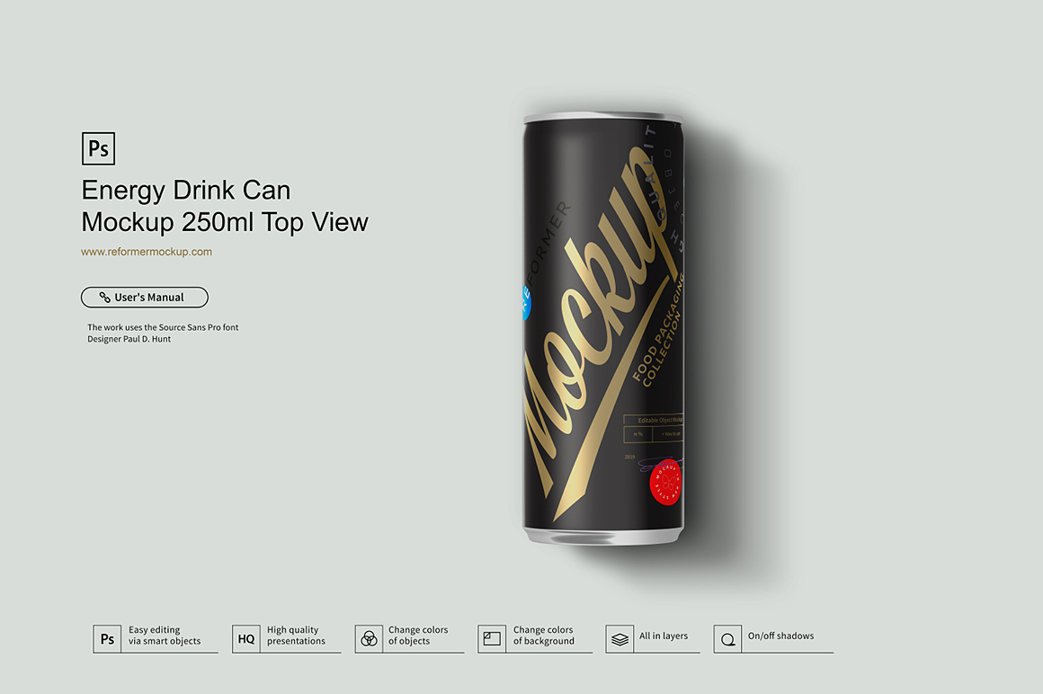 Energy Drink Can Mockup 250ml Top View example image 2