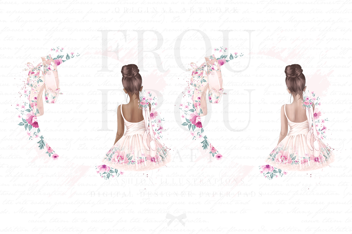 Ballet Watercolor Hand Drawn Child Dress Clipart example image 2