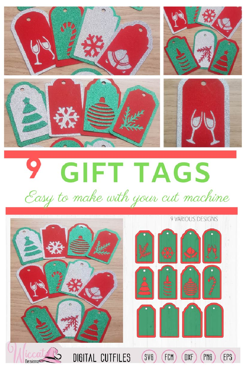 Christmas gift tags cut file, 9 different gift tags example image 2