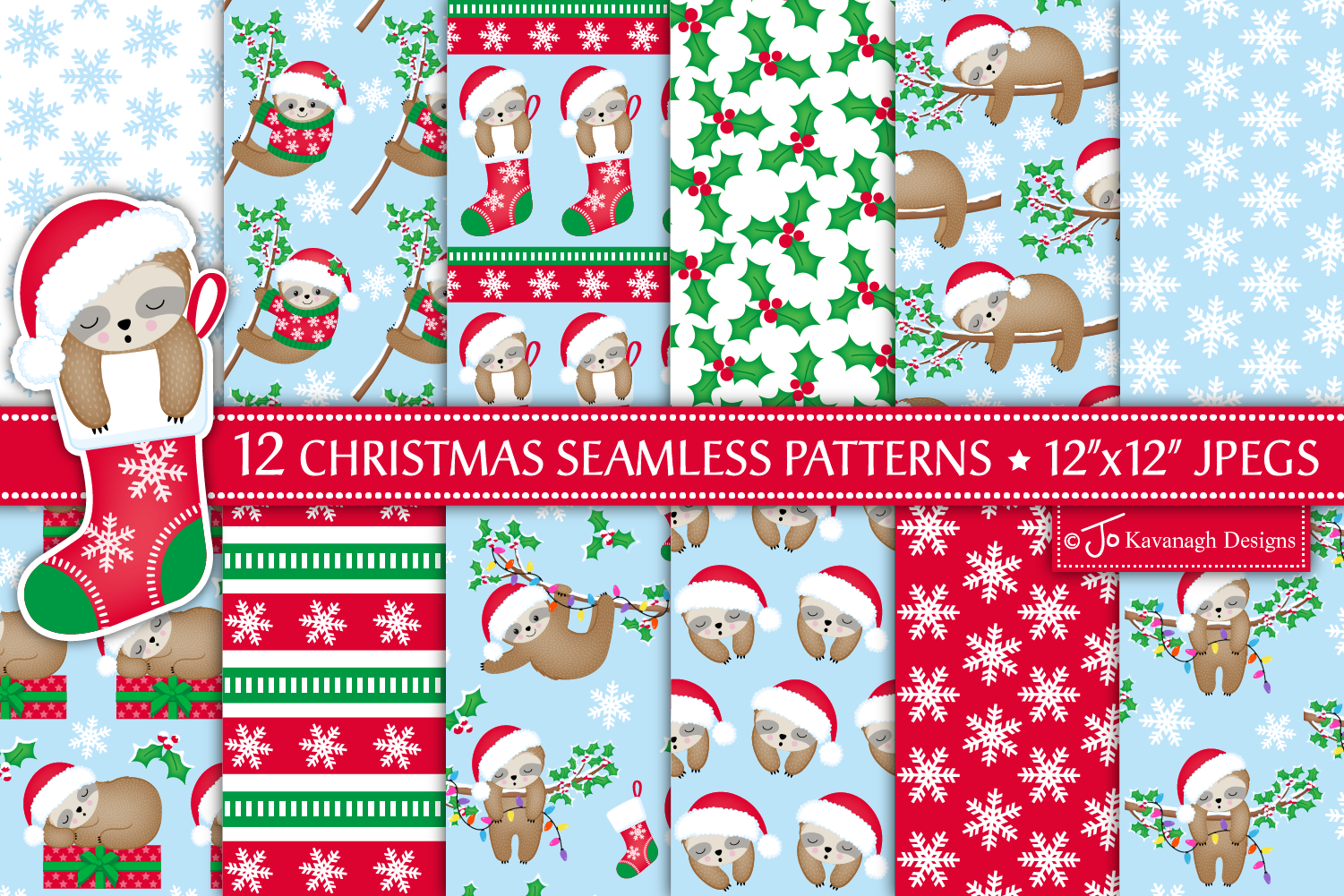 Christmas Sloth Digital Papers, Christmas Patterns -P43 example image 1