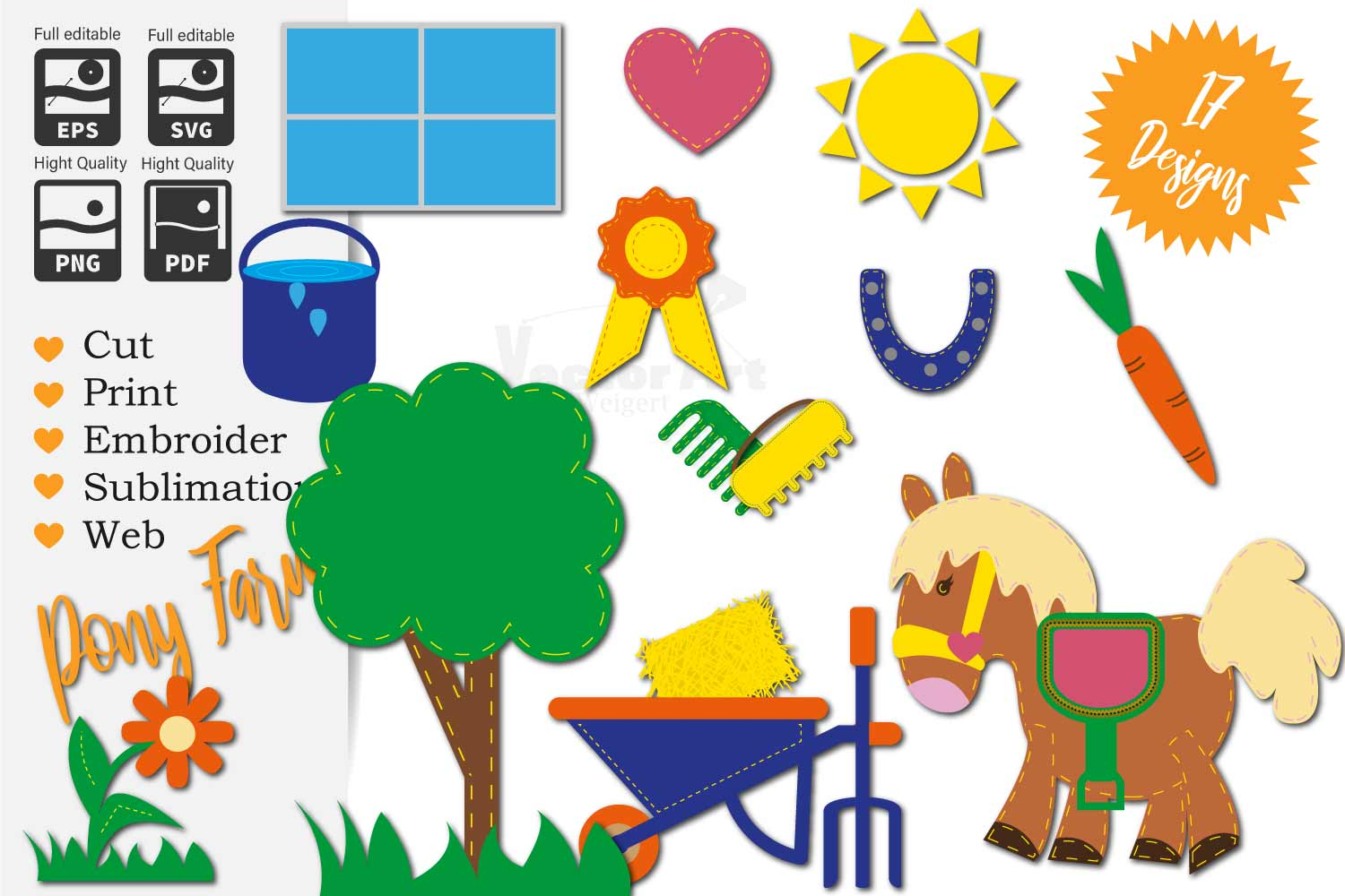 17x Pony Farm - Mini Bundle - Cut or Print for Crafter example image 1