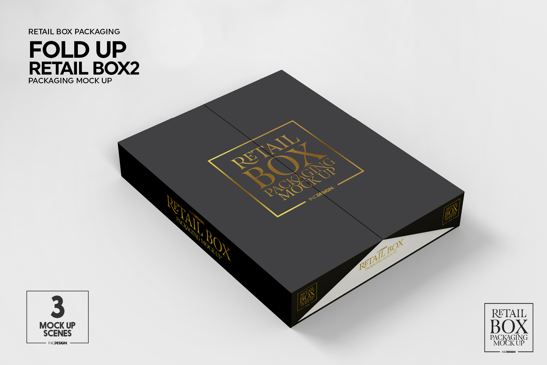 Fold Up Retail Thin Box Packaging Mockup example image 3