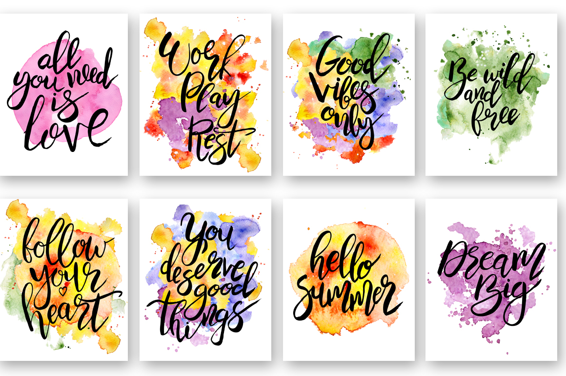 Hand drawn watercolor Inspirational quotes DIY pack example image 3