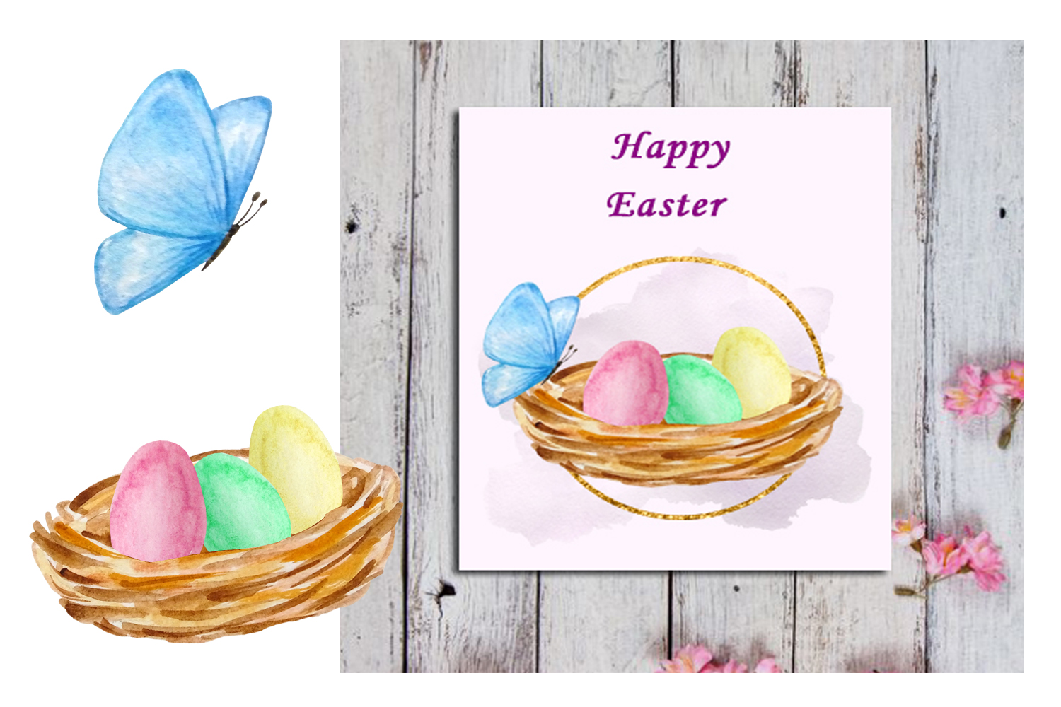 Watercolor Easter Cute Bunny Clipart Set example image 6