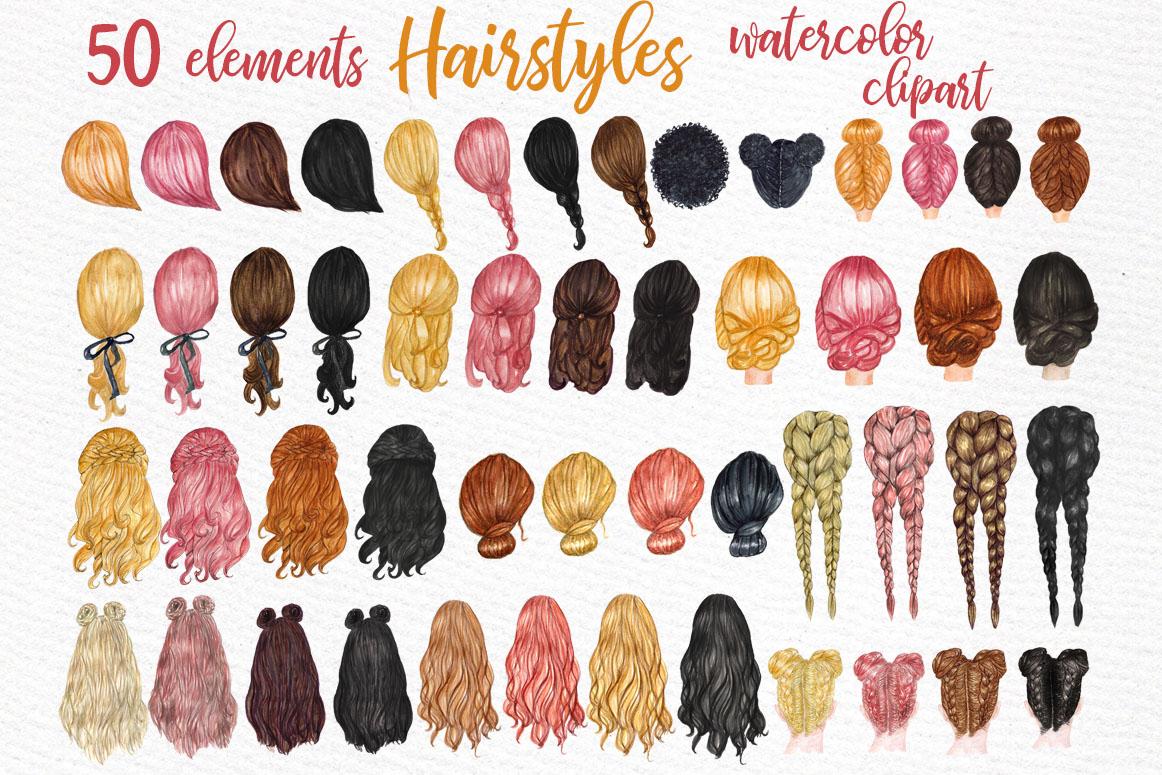 Hairstyles clipart Custom hairstyles Long hair Girls hair example image 1