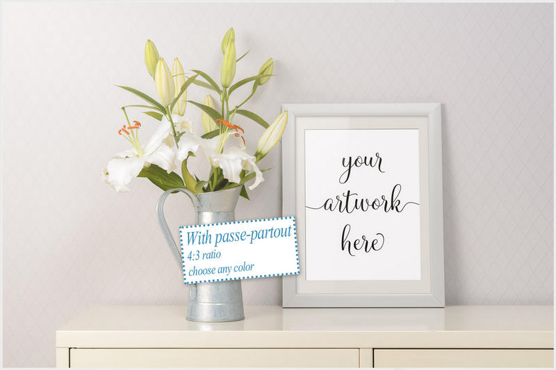 Frame mockup - clean bright interior lily flowers example image 3