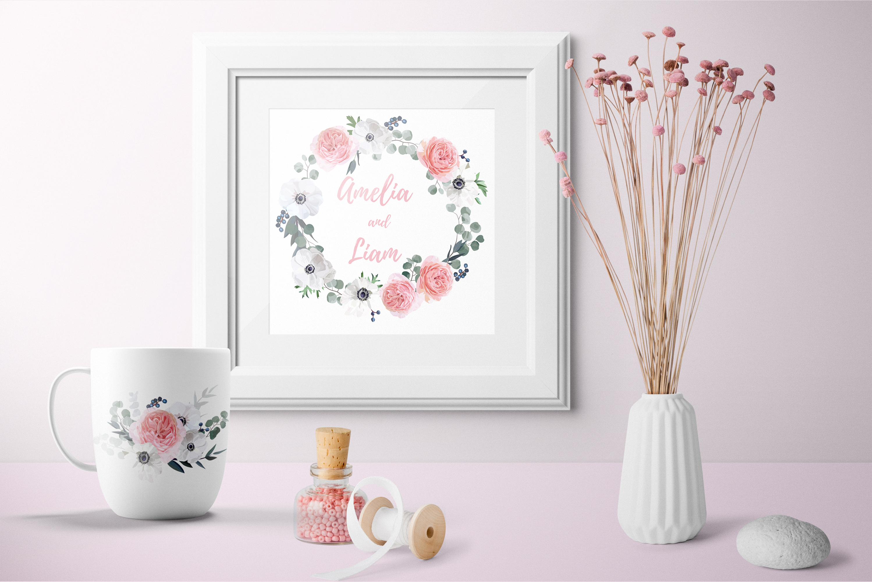 Garden Rose and Anemone - floral vector set example image 5