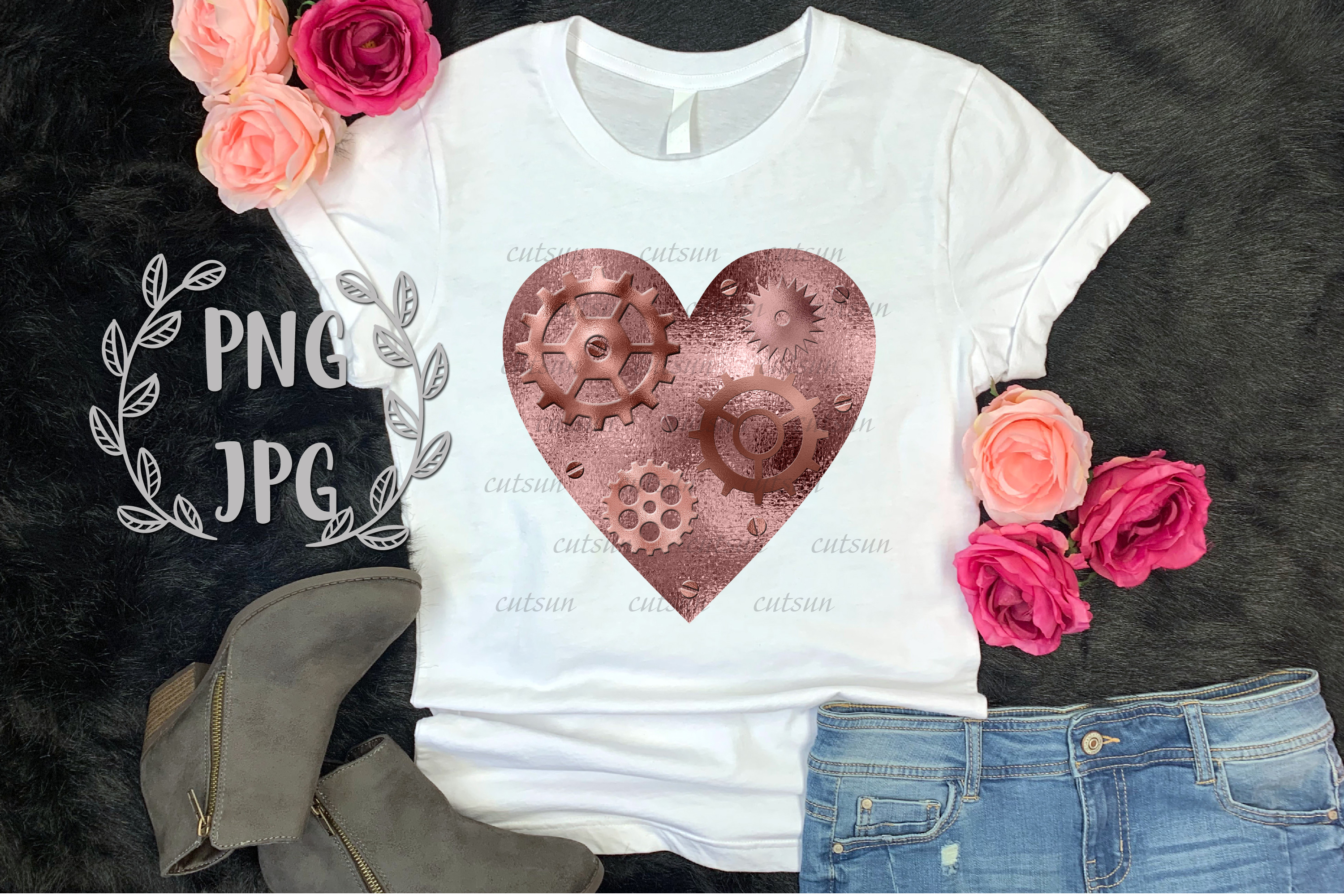 Steampunk Heart Rose Gold sublimation design example image 2
