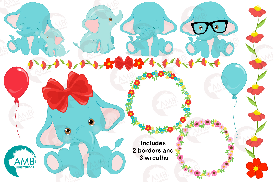 BABY ELEPHANT BUNDLE! 53 cliparts, graphics and illustrations and Patterns AMB-2273 example image 4