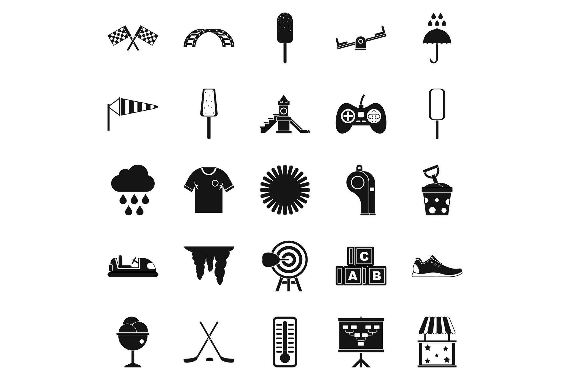 Children playground icons set, simple style example image 1