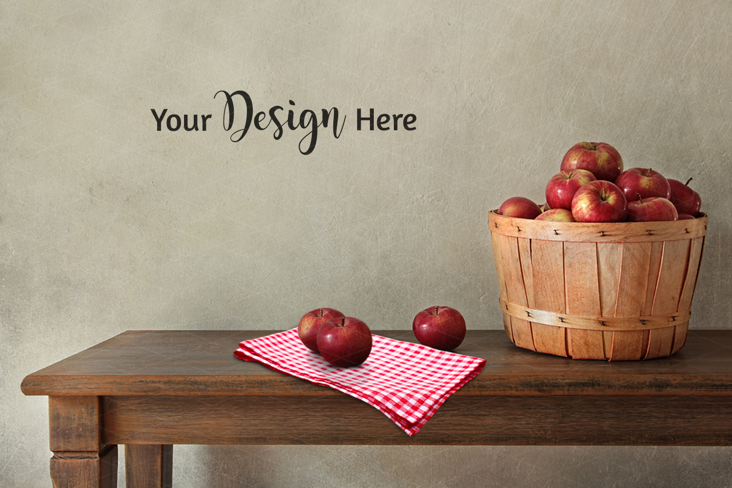 Farmhouse Blank Wall Mockup, Rustic Table Apples 3.2 example image 2