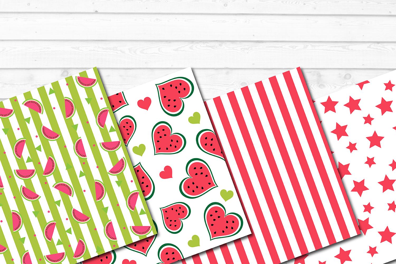 12 Summer Watermelon Fruit Patterns Digital Papers Bundle example image 2