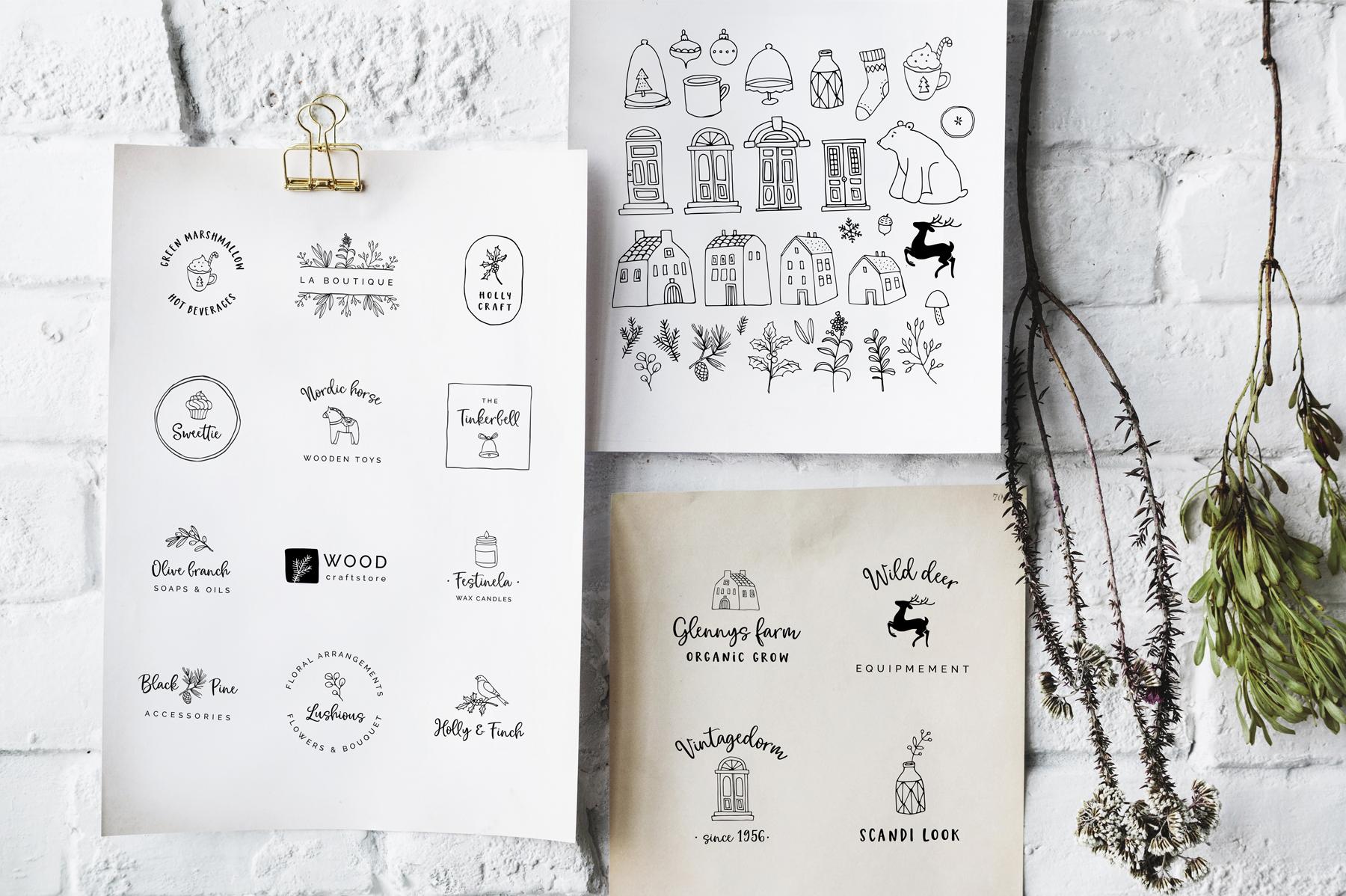 Magic Winter script font duo & logos example image 6