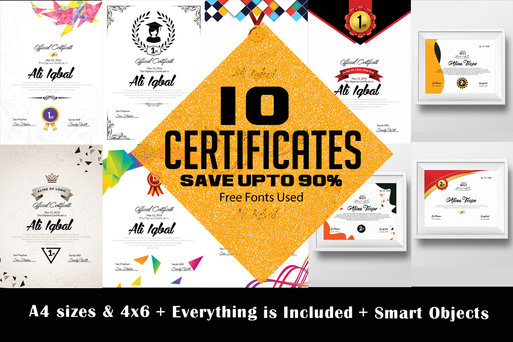 10 Certificates Template Bundle example image 1