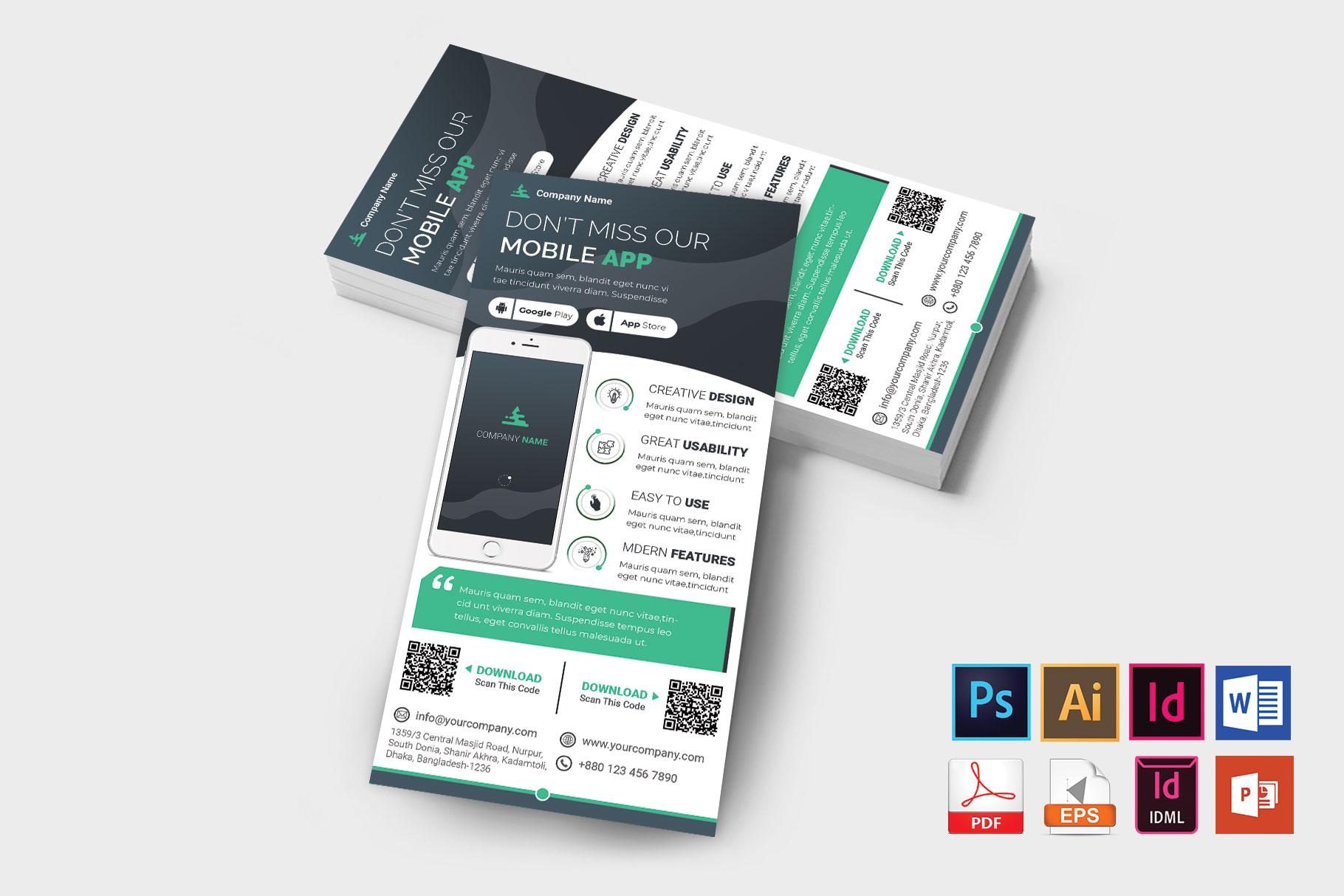 Mobile App Promotion DL Flyer Vol-02 example image 2