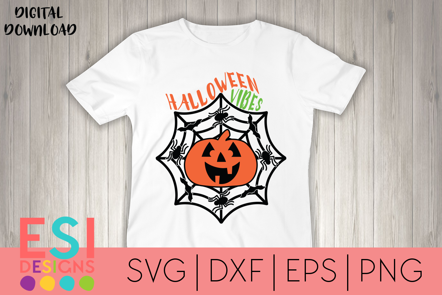 Halloween SVG | Halloween Vibes Jack O Lantern and Spiders example image 1
