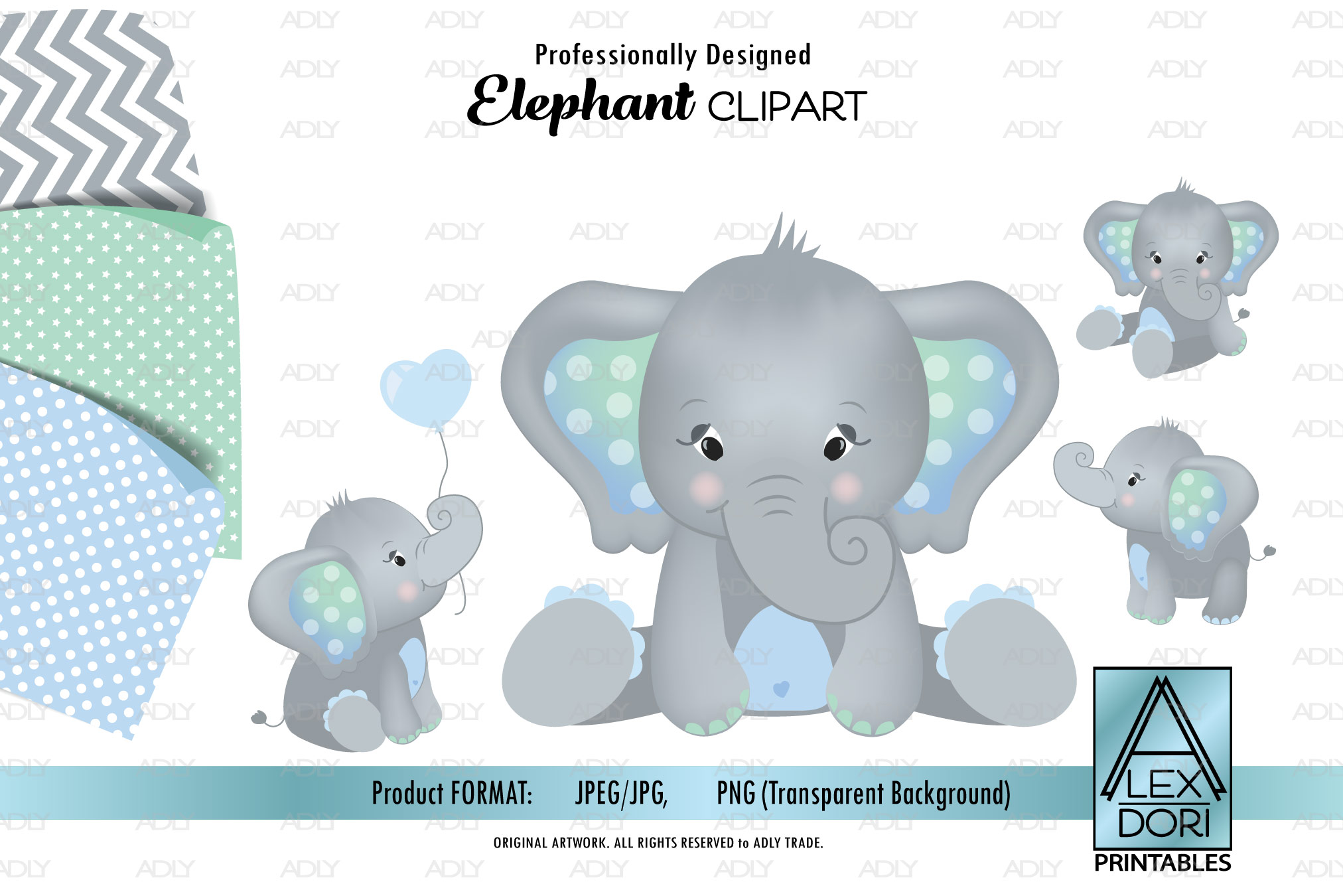 Mint Green / Baby Blue Elephant Cliparts, background set-3 example image 1
