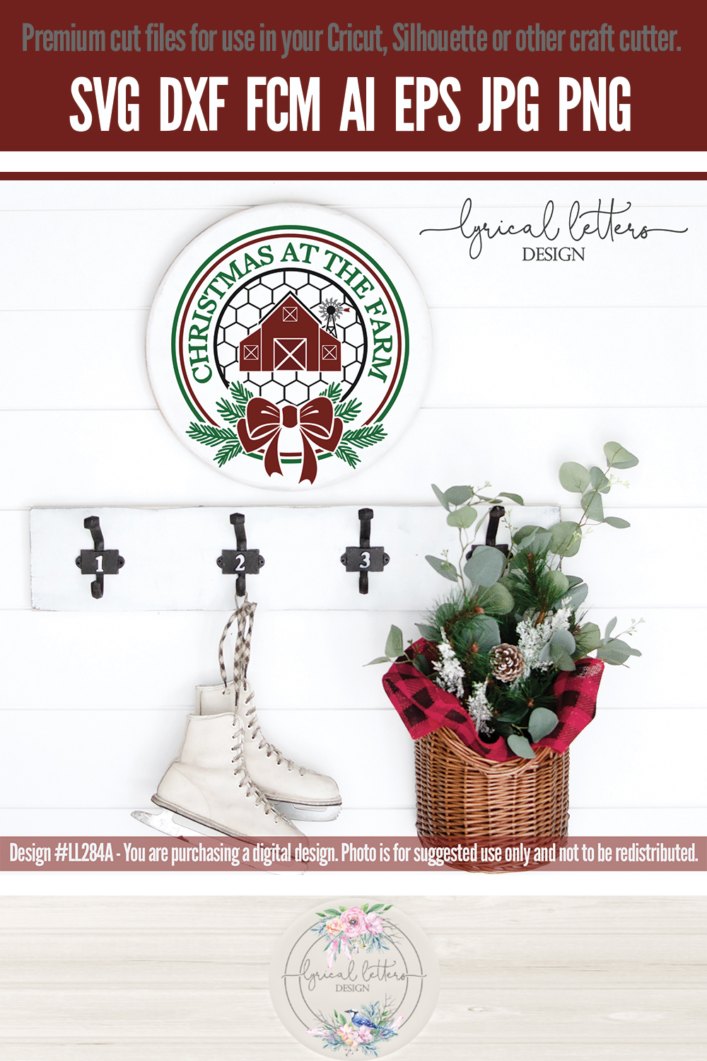 NEW! Christmas At The Farm with Barn SVG LL284A example image 3