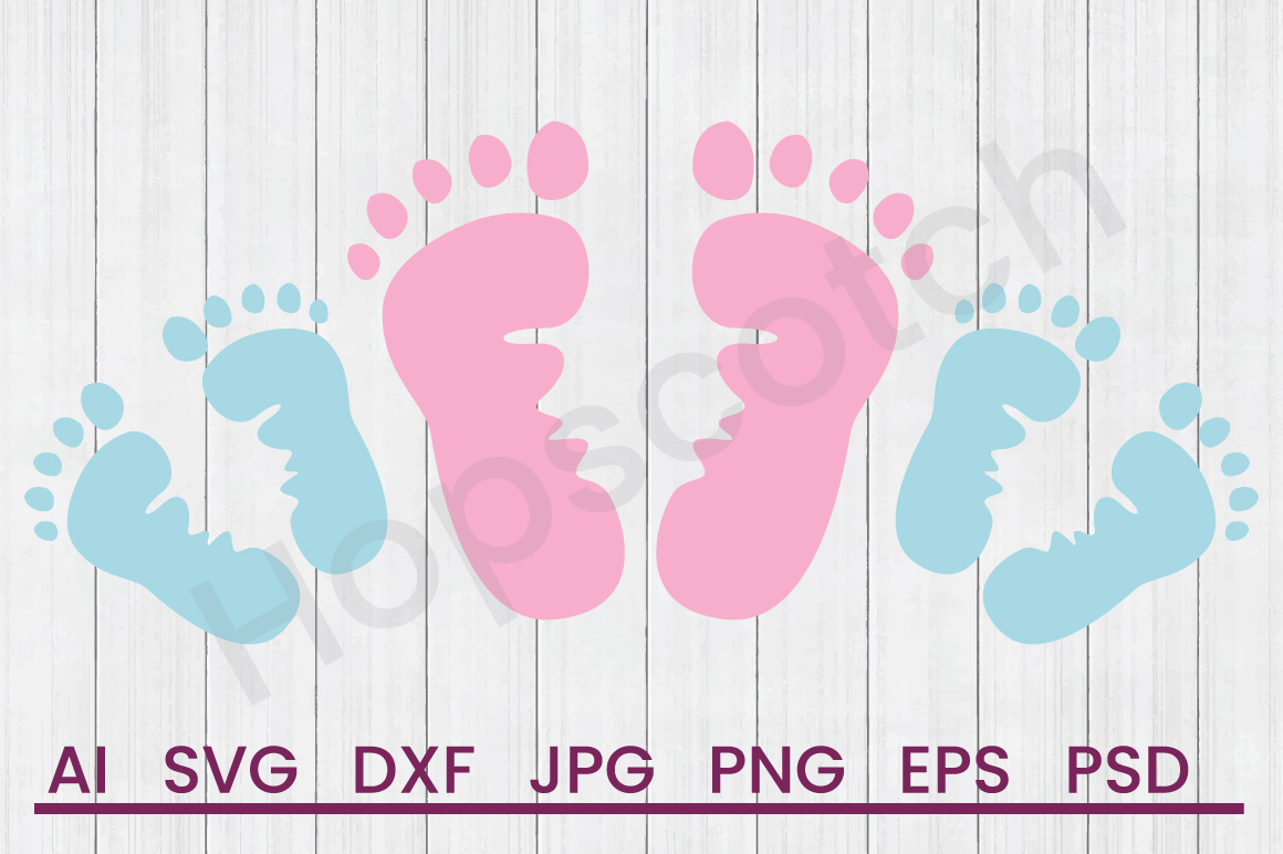 Footprints SVG, DXF File, Cuttatable File example image 1