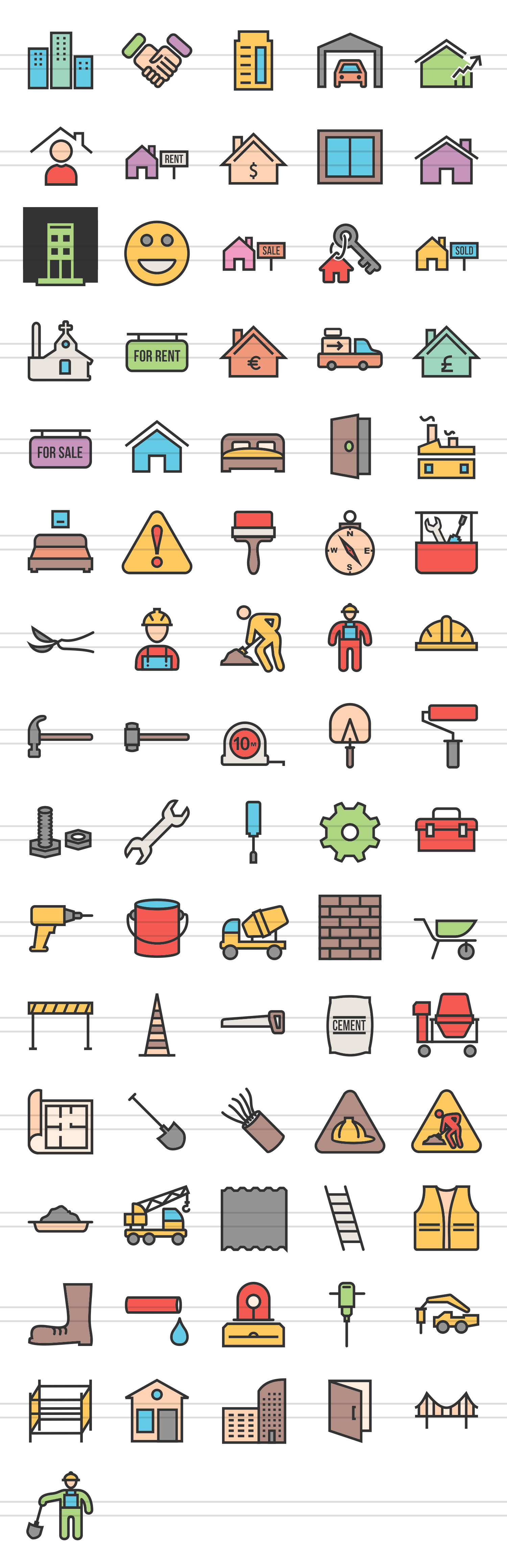 76 Construction Filled Line Icons example image 2
