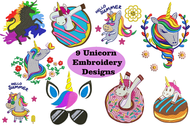9 Unicorn Machine Embroidery Designs example image 1
