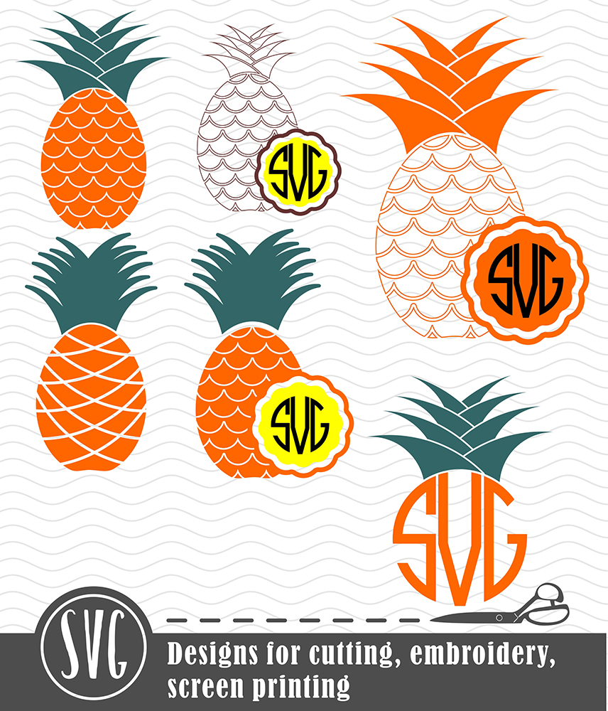6 Pineapple vector designs and monogram templates SVG, DXF, JPG, PNG, DWG, AI, EPS example image 2