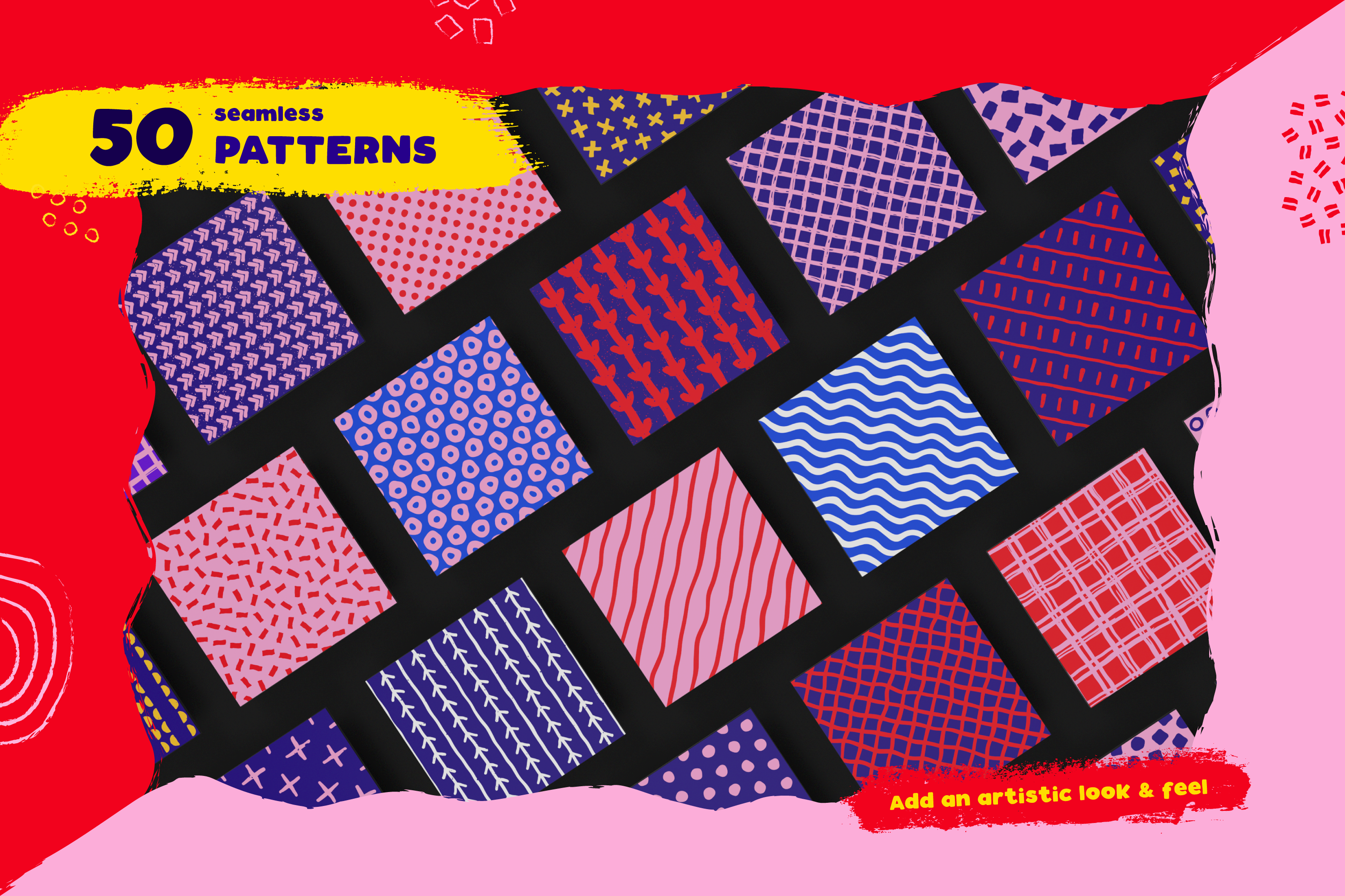 100 Hand-drawn seamless patterns and shapes collection example image 3