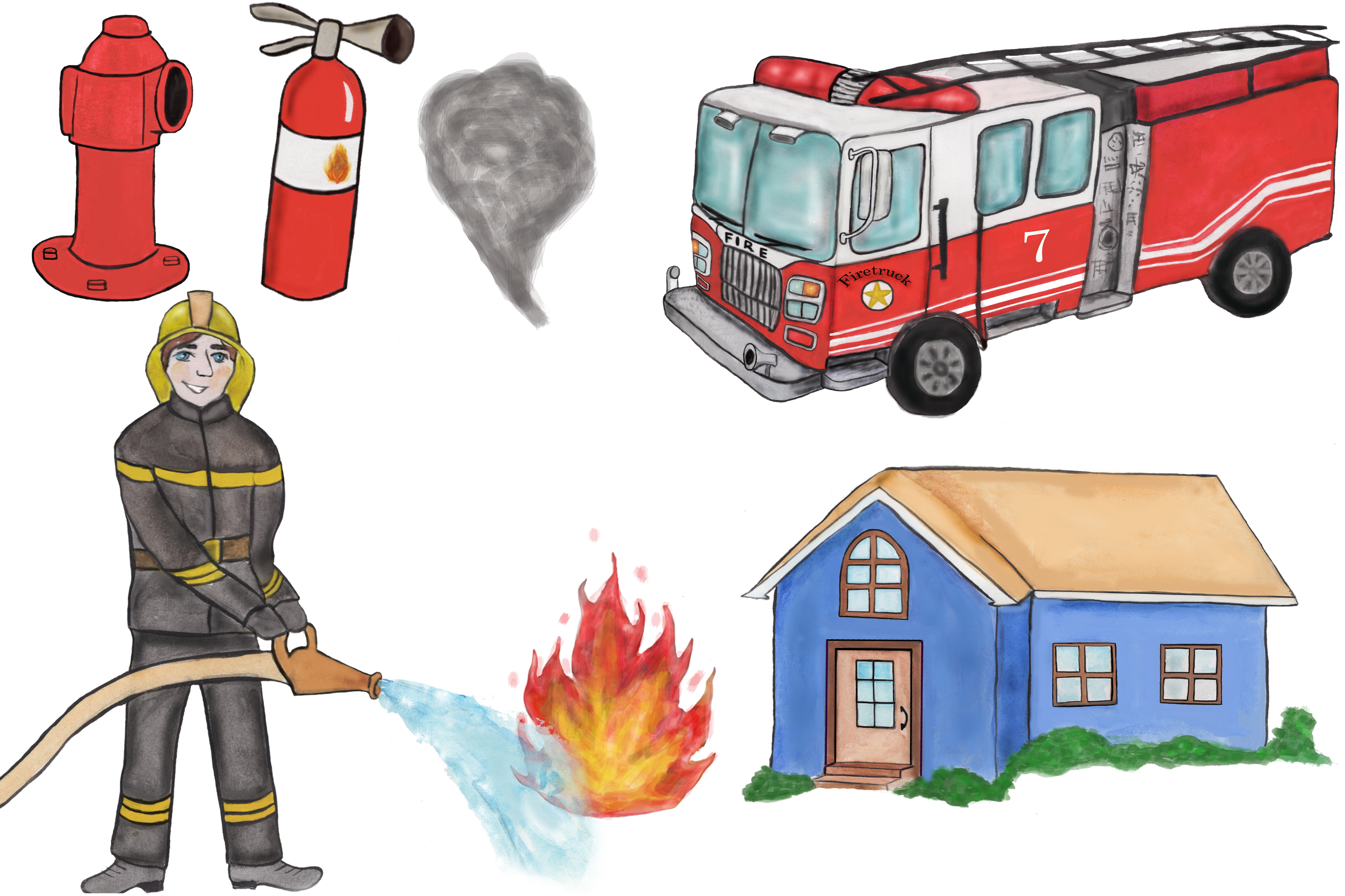 Firefighter clipart, fireman clipart, fire truck clipart PNG example image 2
