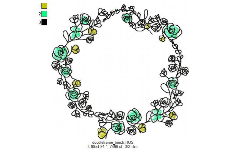 Doodle Floral Wreath monogram font border frame in 3 sizes example image 5